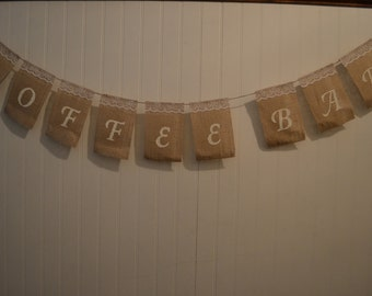 Burlap Coffee Bar Sign, Burlap Wedding Sign