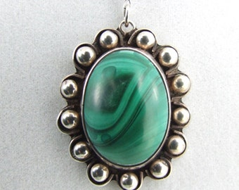 Malachite Agate Stone Sterling Silver Necklace or Pendant 43