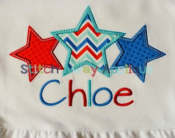 Patriotic Star Trio Machine Applique Design