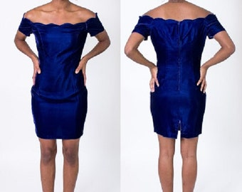 Vintage 1980's Royal Blue Velvet Roberta Party Dress / Cocktail Dress / Prom / Off the Shoulder / Mini Dress / Formal