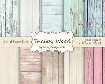 "Shabby Vintage Old Wood Board Digital Paper Pack of 10, 300 dpi, 12""x12"" Instant Download Pattern Paper Scrapbooking, Invites, Cards JPG"