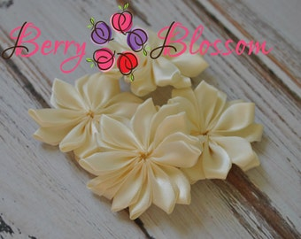 "Ivory Satin Ribbon Flower 2"" inch size - small satin ribbon flowers - Set of 4 - SF YC145 I"