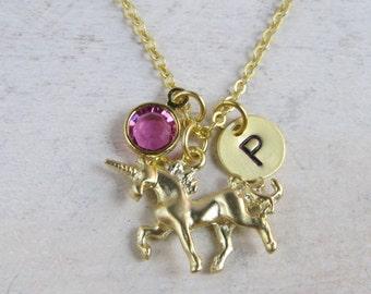 Unicorn necklace, Customized unicorn necklace, personalized unicorn necklace, gold unicorn, initial necklace, birthstone necklace