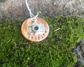 Camera, Inspire vintage style necklace for moms and photographers, sterling silver necklace, copper hand stamped