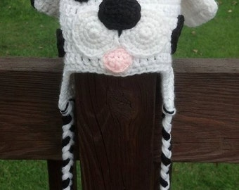 Dalmation Puppy Earflap Hat Boy Girl Men Women Photo Prop Halloween Costume Winter
