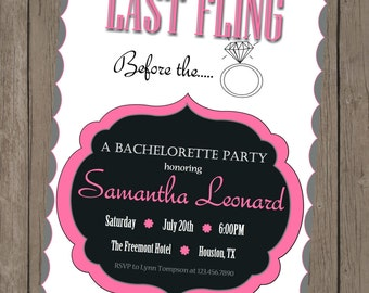 Printable Bachelorette Invitation - Samantha Pink