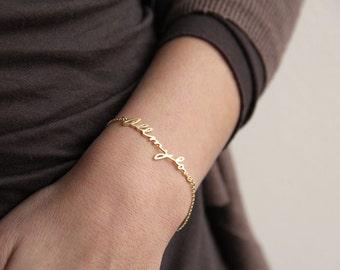 14k gold Signature Bracelet, Custom handwriting bracelet, Love Bracelet, Sister Bracelet, Mother Bracelet, Sister Gift, Mother Gift