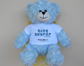 """Ring Bearer 16"""" Personalized Bear with color matched ribbon - wedding party maid of honor bridesmaid flower girl ring bearer gift"""
