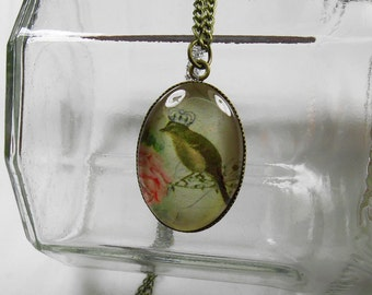 X108- Bird Pendant - Wearable Art Jewelry - Pendant Necklace - Glass Pendant - Bird Necklace