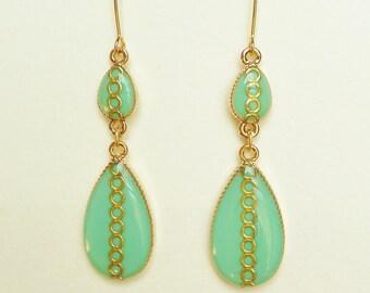 Turquoise Green Earrings, Green Teardrop Earrings, Teardrop Earrings with Gold Ring Motif, Hypoallergenic, Resin Jewelry For Her
