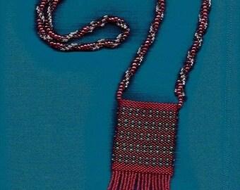 Crimson and Ice Beaded Amulet Bag