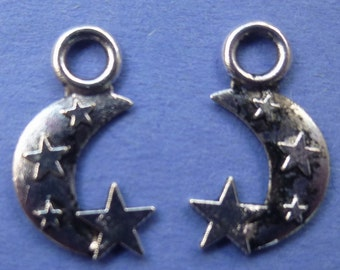 Celestial Moon And Star Charms Set of 10
