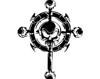 Skull Cross Decal sticker wall art car graphics room decor laptop skin goth gothic metal AA46