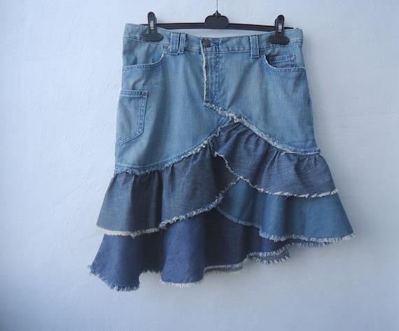 blue denim ruffle skirt upcycled three tier by