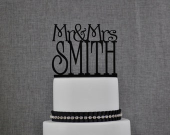 Custom Mr and Mrs Cake Topper in your Choice of Colors, Personalized Last Name Topper, Elegant Wedding Topper, Modern Topper (T011)