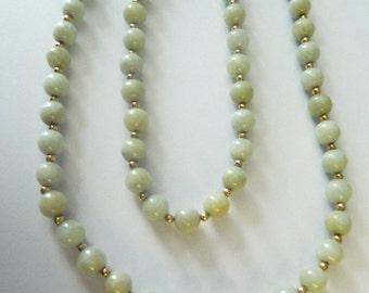 "14K Gold Natural Jade Bead Neckace 29"""