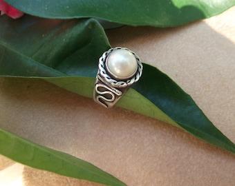 Pearl Ring Sterling Silver Handmade Design Artisan Semi Precious Gemstone JewelSilverwork Unique Individual