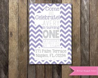 PRINTABLE  First Birthday Invitation 1st Birthday Invitation Pink Purple Chevron Stripe Customizable -  Girls Boys Birthday Party 4x6 or 5x7