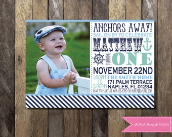 items similar to birthday party invitation  nautical anchor for, Birthday invitations