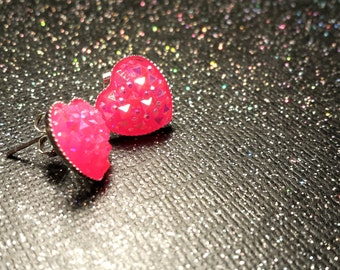 Hot Pink Heart Earrings / Pink Wedding Gift / Pink Bridesmaid Jewelry / Bridal Hea2