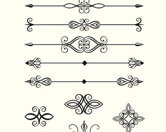 Digital Clipart Pack Line Dividers Calligraphic Decorative Design Elements Embellishments Vector Clipart Pack EPS PNG Instant Download