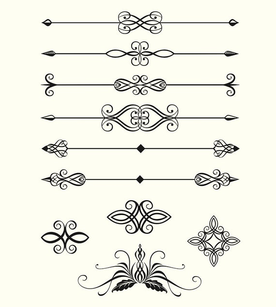 Digital Clipart Pack Line Dividers Calligraphic Decorative