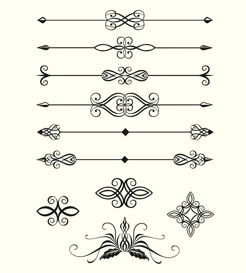 Line Art Box Designs : Digital vector clipart line dividers calligraphic design