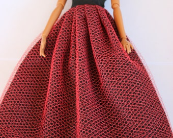 11.5 in doll clothes - long red and black dress (48)