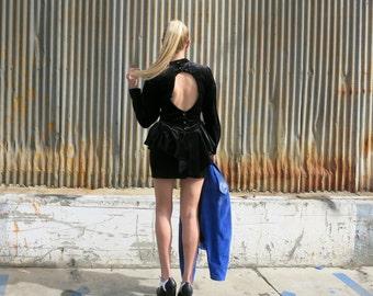 Black Velvet Tiered Mini Dress w/Ruffles & Open Back - Retro / Vintage - Small