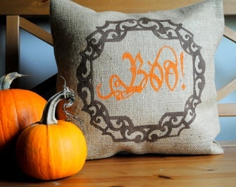 BOO!! A Happy Halloween pillow cover with elegant frame! Halloween decor, Country decor, Halloween pillow cover, fall home, Orange and Black
