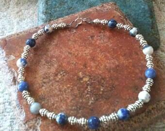 Blue/White Bead Ankle Bracelet