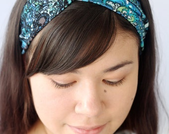 Stretchy Turban Headband, Boho Headwrap, Blue Paisley Twist Headband, Yoga Workout