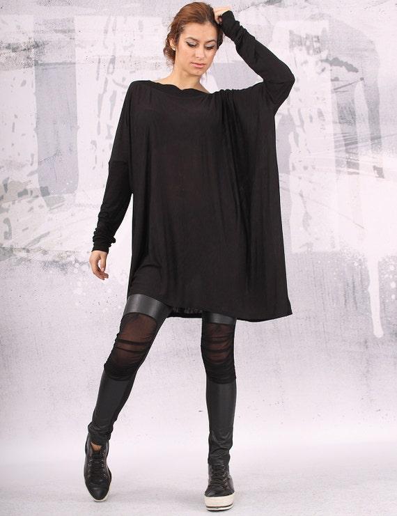 Plus Size Black Tunic Dress Tunic Dress / Plus Size
