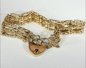 Victorian 15k Gold Gate Bracelet with Heart Lock Closure