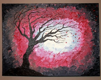 Original Abstract Acrylic Painting on Canvas Into The Storm Tree Branches Blowing in Wind Red Black White Bold Emotion Leaves Silhouette