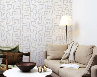 Tribal Vibe - Large wall stencil for DIY projects - Scandinavian design - Reusable - Tribal wallpaper look - Easy home decor - Bohemian