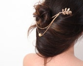 Leaf hair comb   Golden LEAF Hair Comb   Gold hair comb  double combs golden leaf
