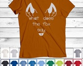 Youth What does the fox say tee - 5 sizes - 22 colors - fox face design tshirt birthday custom childrens kids geek nerd youtube