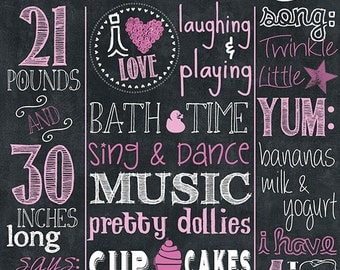 "1st Birthday Chalkboard Customized jpeg Digital Printable File 20"" x 30"" - Boy or Girl"