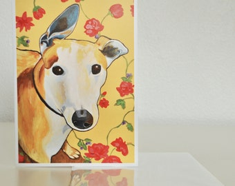 "Greyhound Art card - Greyhound and Flowers Art card - 5x7"" blank-inside Greyhound card - Italian Greyhound Art"