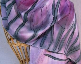 "Hand painted silk scarf ""Mauve Tulips"""