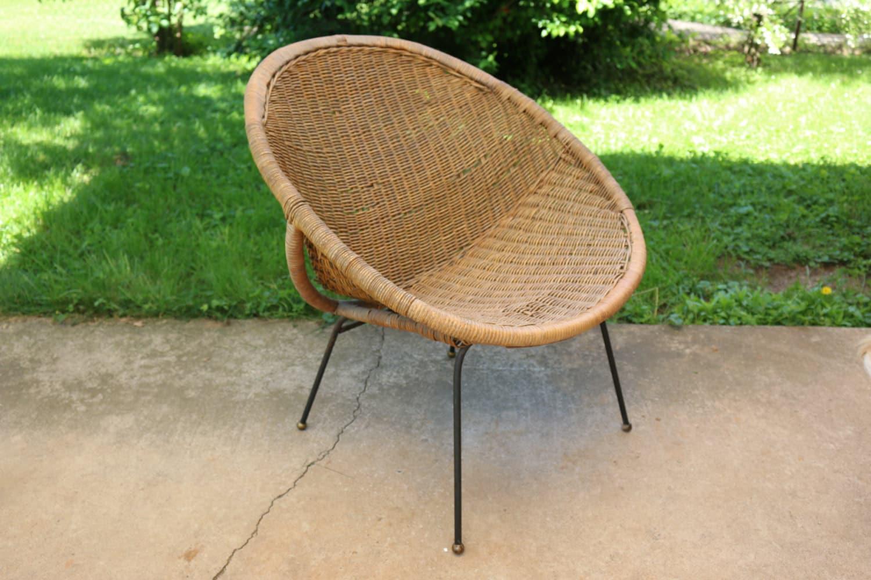 mid century modern calif asia rattan hoop chair wicker lunar
