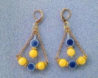 Blue & Lemon Yellow Beaded Earrings
