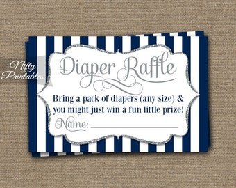 Navy Blue Diaper Raffle Tickets -  Baby Boy Shower Game - Printable Navy Blue Raffle Tickets - Boy Baby Diaper Shower Party - INSTANT - NSG