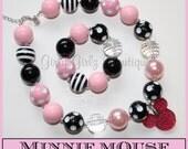 SALE SALE Pink Minnie Mouse Girls Chunky Bubblegum Necklace  & Bracelet Set light pink black photo prop  party jewlery