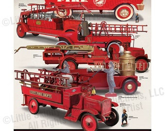 Vintage Large Scale Pressed-Steel Fire Trucks, 24 x 30 Print