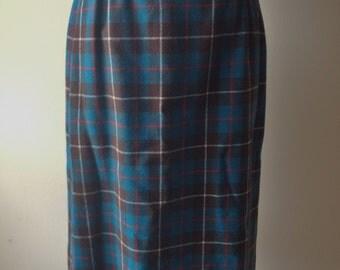 Vintage Pendleton Teal & Brown Plaid Wool Pencil Skirt / Size 14