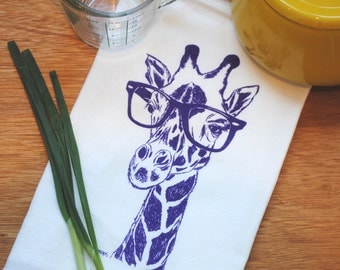 Purple Giraffe Flour Sack Towel -  Dish Towel - Tea Towel - Tea Towels Flour Sack - Screen Printed Tea Towel - Hand Towel