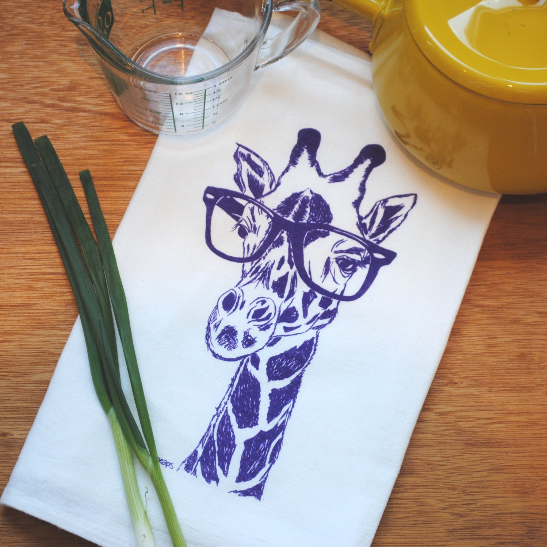 Purple Giraffe Flour Sack Towel Dish Towel Tea Towel