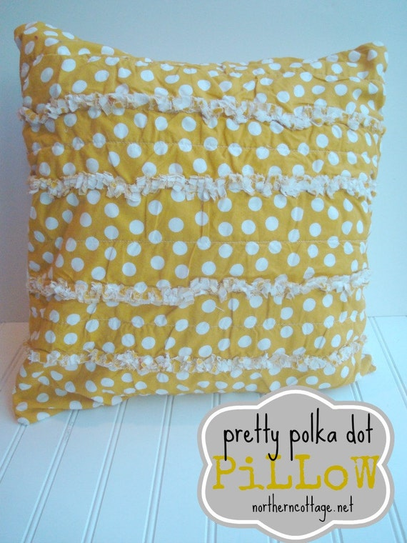 Yellow Ruffle Decorative Pillow : PILLOW Cover Ruffle Edged HaPPY Yellow Throw by NorthernCottage